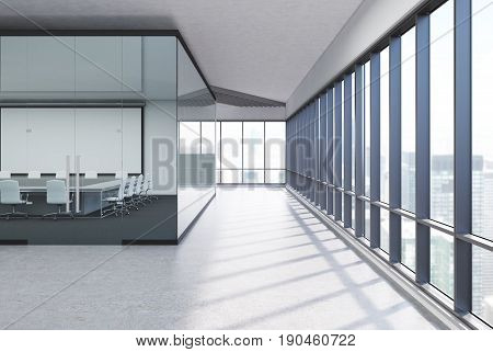 Meeting room interior with white and glass walls concrete floor and a row of folders standing on a shelf. Square table with white office chairs. Whiteboard. Side. 3d rendering mock up