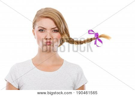 Teenage Girl In Braid Hair Making Angry Face