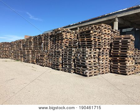 Wood pallet in factory warehouse. Wood pallet