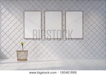White Living Room With A Poster Gallery
