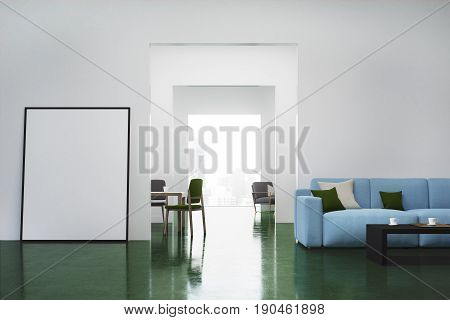 White living room interior with a blue sofa colored cushions lying on it and a vertical poster standing near a door. 3d rendering mock up