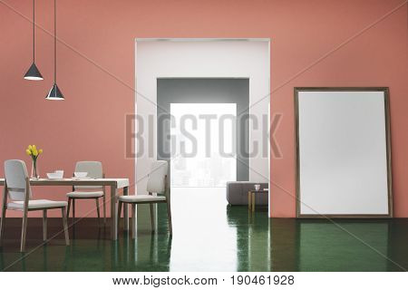 Pink and green dining room interior with a long wooden table white chairs standing near it a flower vase and a vertical poster standing near a door. 3d rendering mock up
