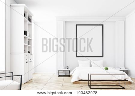 Front View Of A Bedroom With Bookcase