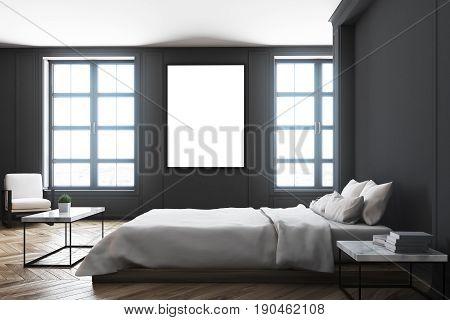 Black Bedroom Interior, Table Side