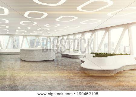 Spaceship Style Office Interior, Corner Toned