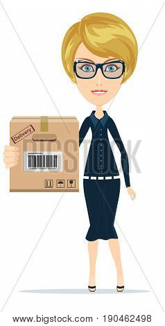 A young beautiful caucasian woman holding a box in her hands. Stock vector illustration for poster, greeting card, website, ad, business presentation, advertisement design.