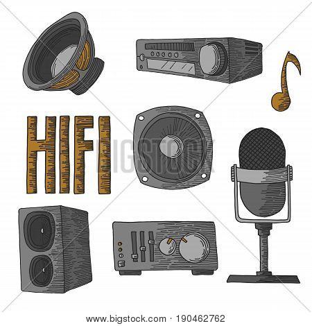 Hi fi hand drawn set consisting of icons and objects for recording and reproducing music and sounds. The kit includes a speaker, a microphone and an equalizer. Isolated on white background