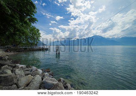 Lake Leman (Lake Geneva) at Montreux in Switzerland