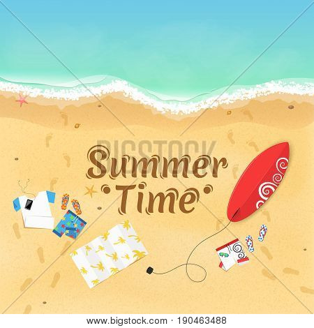 Summer time. On the beach are things a surfboard and accessories. Cover for your project. Top view of the beach. Exotic zone of rest. Vector illustration. Dark text on the sand. EPS 10