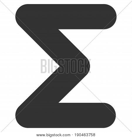 Sum vector icon. Flat gray symbol. Pictogram is isolated on a white background. Designed for web and software interfaces.