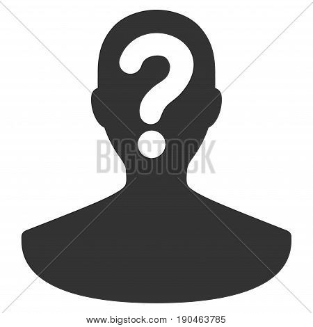 Unknown Person vector icon. Flat gray symbol. Pictogram is isolated on a white background. Designed for web and software interfaces.