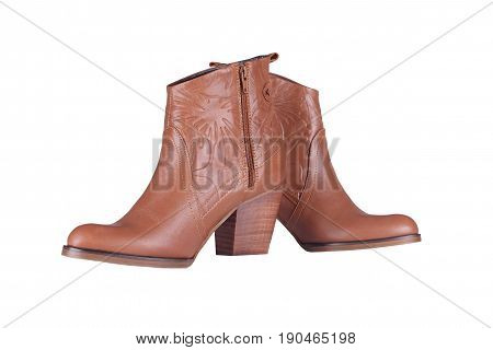 Woman Brown boots on a white background