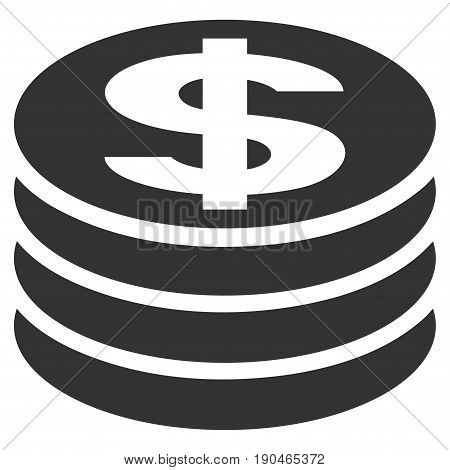 Dollar Coin Column vector icon. Flat gray symbol. Pictogram is isolated on a white background. Designed for web and software interfaces.