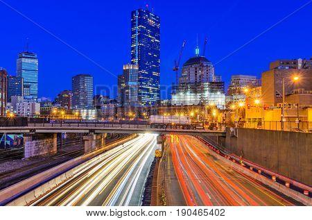 Boston, Massachusetts, USA skyline viewed from above Massachusetts Turnpike.