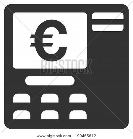 Euro ATM vector icon. Flat gray symbol. Pictogram is isolated on a white background. Designed for web and software interfaces.