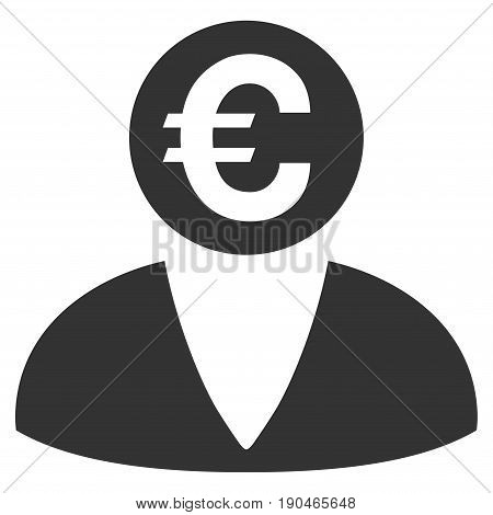 Euro Banker vector icon. Flat gray symbol. Pictogram is isolated on a white background. Designed for web and software interfaces.