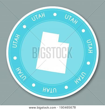 Utah Label Flat Sticker Design. Patriotic Us State Map Round Lable. Round Badge Vector Illustration.