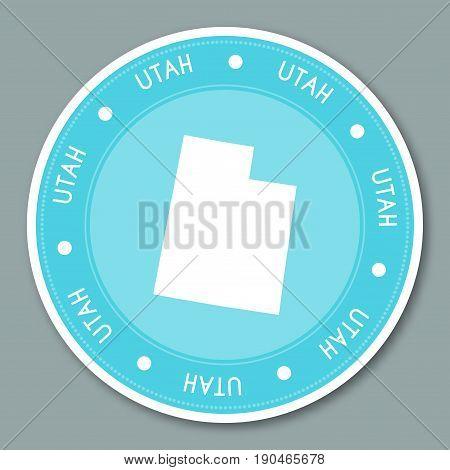 Utah Label Flat Sticker Design. Patriotic Us State Map Round Lable. Round Badge Vector Illustration.