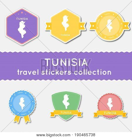 Tunisia Travel Stickers Collection. Big Set Of Stickers With Country Map And Name. Flat Material Sty