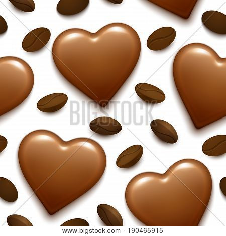 Seamless pattern with dark glossy chocolate heart bonbon and coffee beans. 3d realistic illustration. Good for wedding designs.