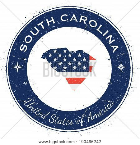 South Carolina Circular Patriotic Badge. Grunge Rubber Stamp With Usa State Flag, Map And The South