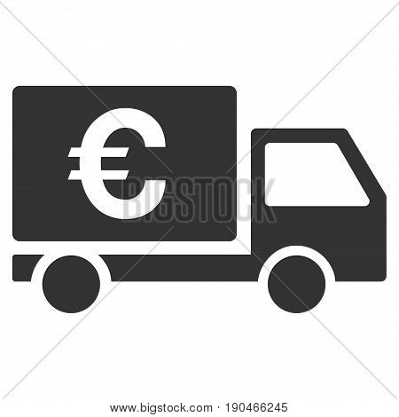 Euro Shipment vector icon. Flat gray symbol. Pictogram is isolated on a white background. Designed for web and software interfaces.