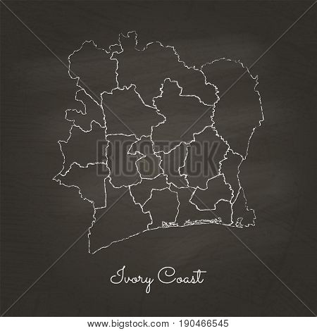 Ivory Coast Region Map: Hand Drawn With White Chalk On School Blackboard Texture. Detailed Map Of Iv