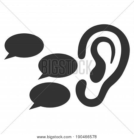 Listen Gossips vector icon. Flat gray symbol. Pictogram is isolated on a white background. Designed for web and software interfaces.