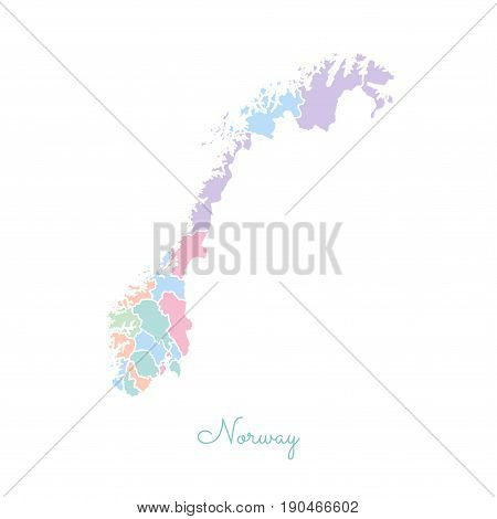 Norway Region Map: Colorful With White Outline. Detailed Map Of Norway Regions. Vector Illustration.