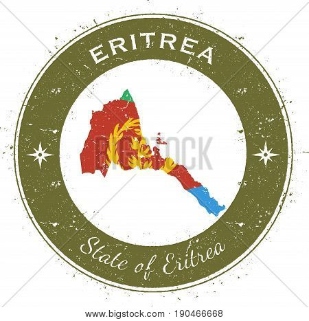 Eritrea Circular Patriotic Badge. Grunge Rubber Stamp With National Flag, Map And The Eritrea Writte