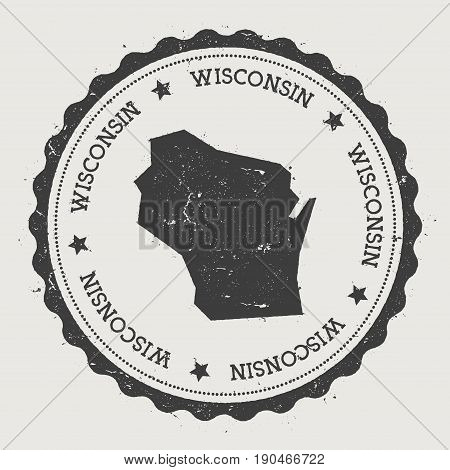 Wisconsin Vector Sticker. Hipster Round Rubber Stamp With Us State Map. Vintage Passport Stamp With