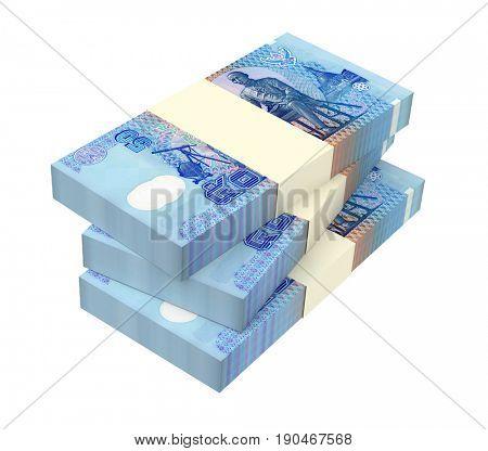 Thai baht bills isolated on white background. 3D illustration.