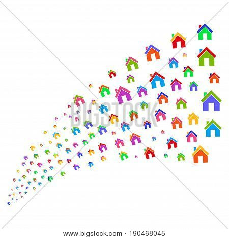 Source of home icons. Vector illustration style is flat bright multicolored iconic home symbols on a white background. Object fountain organized from design elements.