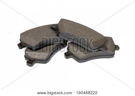 Brake pads isolated on white with clipping path.