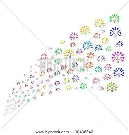 Fountain of light bulb symbols. Vector illustration style is flat bright multicolored iconic light bulb symbols on a white background. Object fountain combined from design elements.