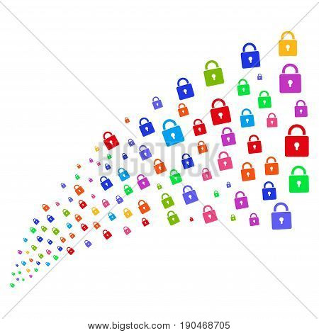 Source of lock symbols. Vector illustration style is flat bright multicolored iconic lock symbols on a white background. Object fountain done from design elements.