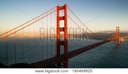 A view of the bay Golden Gate Bridge and San Fracisco city skyline