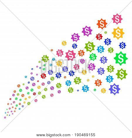 Fountain of money award symbols. Vector illustration style is flat bright multicolored iconic money award symbols on a white background. Object fountain done from pictograms.