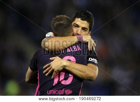 BARCELONA, SPAIN - APRIL, 29: Luis Suarez(R) and Jordi Alba(L) of FC Barcelona celebrating goal during a Spanish League match at the RCDE Stadium on April 29 2017, in Barcelona Spain