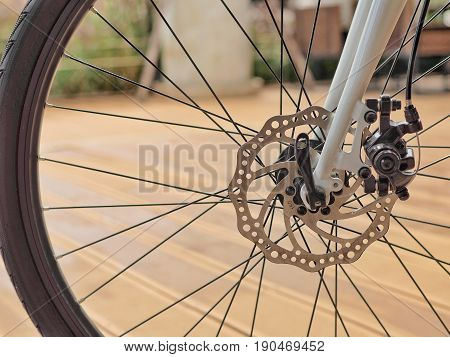 Bicycle front disc brake. Bicycle part and accessories.