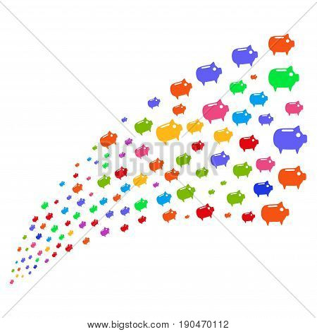 Stream of piggy bank symbols. Vector illustration style is flat bright multicolored iconic piggy bank symbols on a white background. Object fountain created from pictographs.