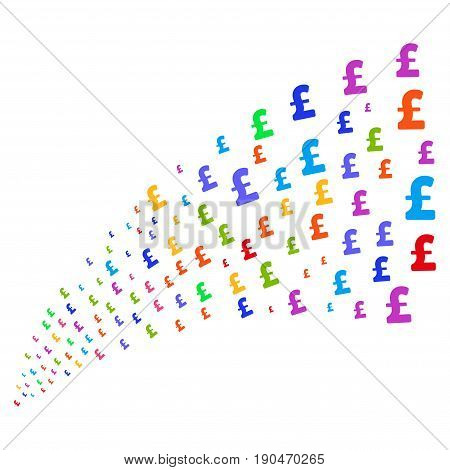 Source stream of pound sterling icons. Vector illustration style is flat bright multicolored iconic pound sterling symbols on a white background. Object fountain combined from pictograms.
