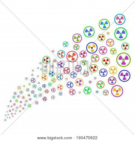 Source of radioactive icons. Vector illustration style is flat bright multicolored iconic radioactive symbols on a white background. Object fountain done from design elements.