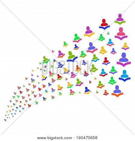 Fountain of reader icons. Vector illustration style is flat bright multicolored iconic reader symbols on a white background. Object fountain constructed from design elements.