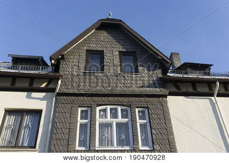 Old house facade with slate in hessen germany