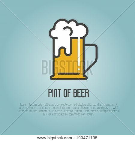 Pint of beer with white foam. Thin line vector illustration for beer brewery, bar, restaurant, October fest.