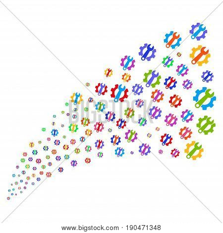 Source of service tools symbols. Vector illustration style is flat bright multicolored iconic service tools symbols on a white background. Object fountain constructed from icons.