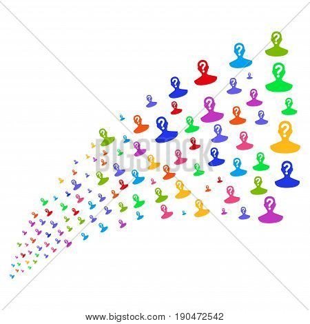 Fountain of unknown person icons. Vector illustration style is flat bright multicolored iconic unknown person symbols on a white background. Object fountain done from pictographs.