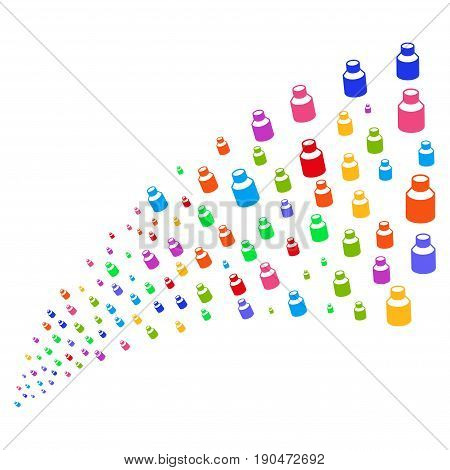 Source of vial symbols. Vector illustration style is flat bright multicolored iconic vial symbols on a white background. Object fountain combined from pictographs.
