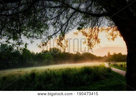 Scenic view in a dreaming landscape at the end of a day